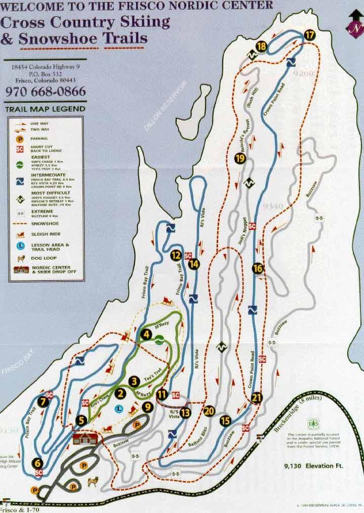 Frisco Nordic Center trail map, Frisco Nordic Center ski map, Frisco on