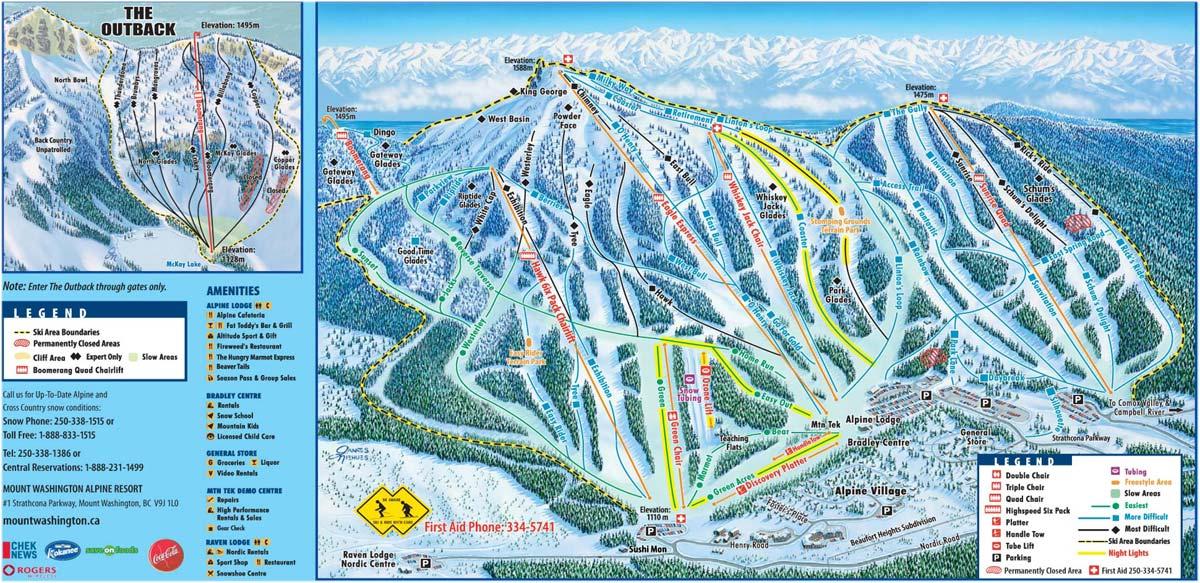 Bc Washington Map.Mount Washington Alpine Resort Trail Map Mount Washington Alpine