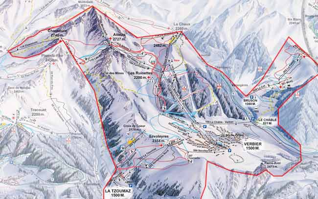 Verbier4 ValleesMont Fort trail map Verbier4 ValleesMont Fort