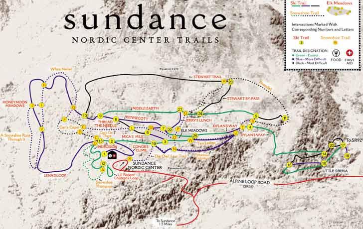 Sundance Nordic Center Trail Map Sundance Nordic Center Ski Map