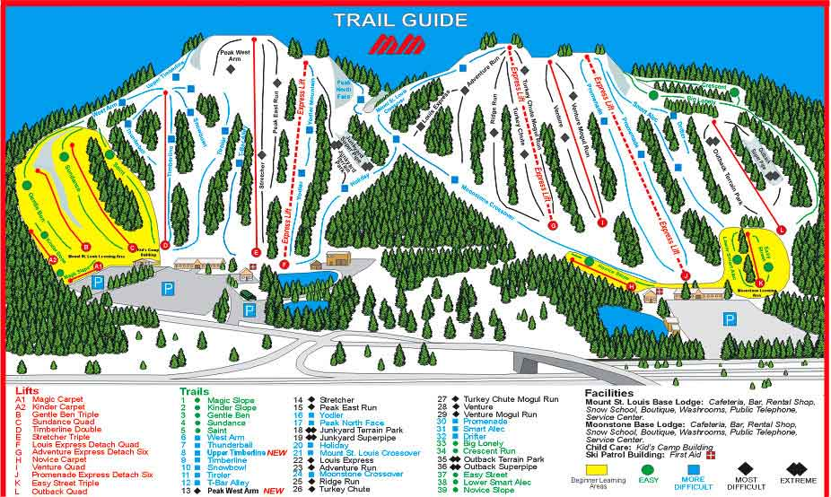 Mount St Louis Moonstone trail map Mount St Louis Moonstone ski map