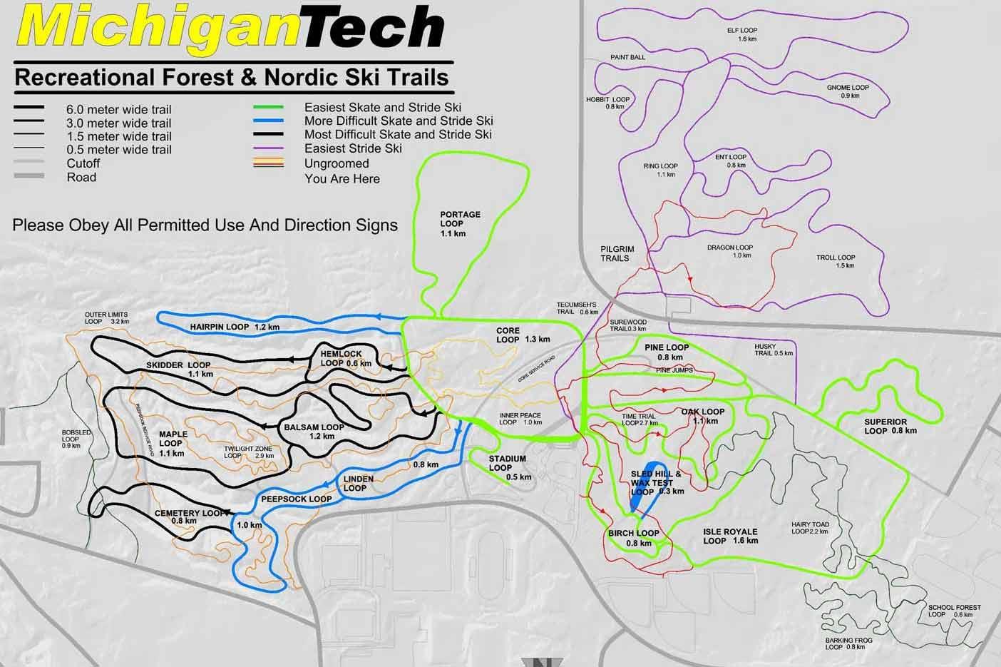 Ski In Michigan Map.Michigan Tech Nordic Ski Trails Trail Map Michigan Tech Nordic Ski
