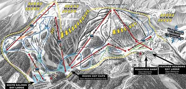 Mt Baker trail map, Mt Baker ski map, Mt Baker snowboard map